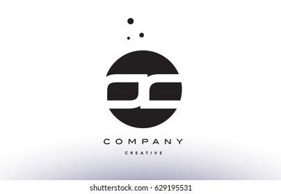 OC O C alphabet company letter logo design vector icon template simple black white circle dot dots creative abstract