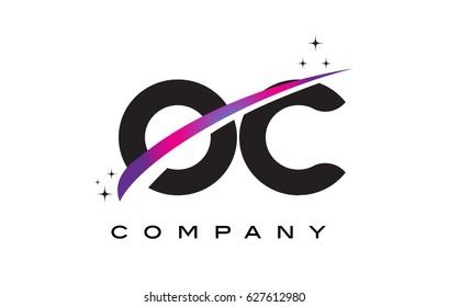 OC O C Black Letter Logo Design with Purple Magenta Swoosh and Stars.