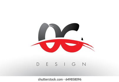 OC O C Brush Logo Letters Design with Red and Black Colors and Brush Letter Concept.