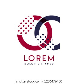 OC simple logo design with blue and maroon color that can be used for creative business and advertising. CO logo is filled with bubbles and dots, can be used for all areas of the company