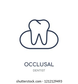 Occlusal icon. Occlusal linear symbol design from Dentist collection. Simple outline element vector illustration on white background.