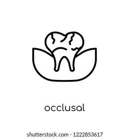 Occlusal icon. Trendy modern flat linear vector Occlusal icon on white background from thin line Dentist collection, editable outline stroke vector illustration