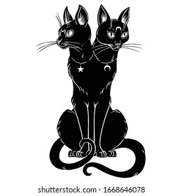 Occult Black Cat with two heads. Halloween witch cat. Vector illustration. For stickers, pins, patches. Design for print, animal mascot, birthday surprise party etc.