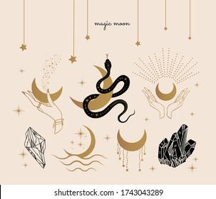occult moon symbols, tattoo, snake, hands, crystals, magic witch craft