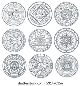 Occult, mystic, spiritual, esoteric vector symbols. Spiritual masonic tattoo symbol, illustration of spiritual religion signs