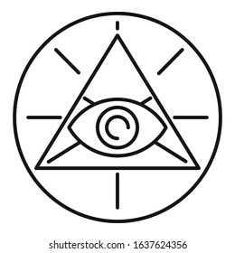 Occult pyramid eye icon. Outline occult pyramid eye vector icon for web design isolated on white background