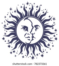 Occult symbol - the stylized faces of the moon and Sun United on one disc, surrounded by stars. Vector graphic illustration.