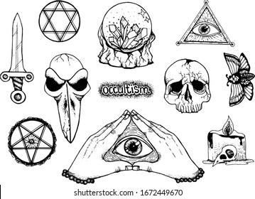 occultism, hand-drawn vector set, mystic