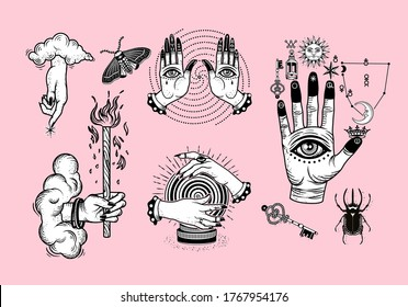 Occultism Set with Alchemical symbols on The Hand, Hand of God with clouds, Hands with Eyes, Crystal Ball, Rhinoceros Beetle. Vector Illustration.