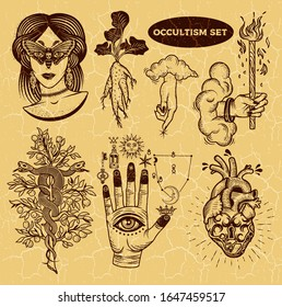 Occultism Set With Woman With Moth Eyes, Mandrake Root, Snakes On The Tree, Alchemical symbols on The Hand, Hand of God with clouds, Heart Lock. Vector illustration.