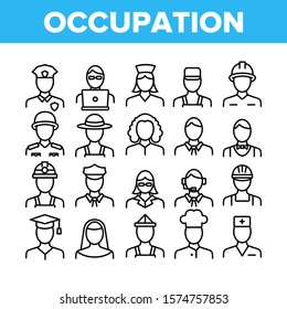 Occupation Collection Elements Icons Set Vector Thin Line. Policeman And Doctor, Teacher And Nurse, Builder And Military, Occupation Concept Linear Pictograms. Monochrome Contour Illustrations