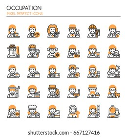 Occupation Elements , Thin Line and Pixel Perfect Icons