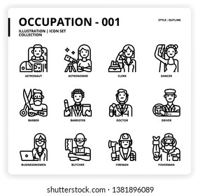 Occupation icon set for web design, book, magazine, poster, ads, app, etc.