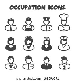 occupation icons, mono vector symbols