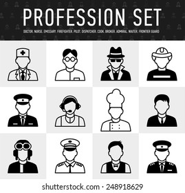 occupation icons, mono vector symbols a large set of illustrations in a simple linear style