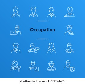 Occupation icons. Set of line icons on white background. Painter, officer, nurse. Profession concept. Vector illustration can be used for topics like career, skill, service