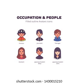 Occupation and people avatar filled outline icons