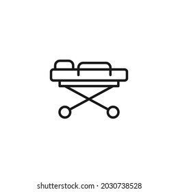 Occupation and profession concept. High quality outline symbol for web design or mobile app. Line icon of medical troley for trasportation of patients