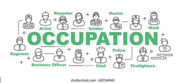 occupation vector banner design concept, flat style with thin line art icons on white background