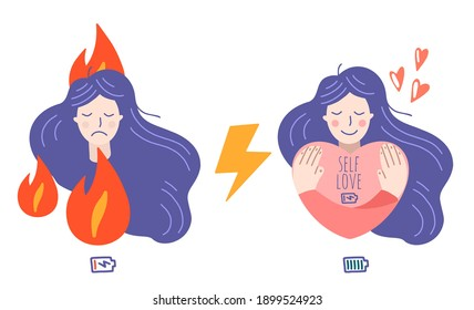 Occupational burnout syndrome and mental health prevention, recovery. Stressful girl and happy girl. Well-being, self love concept. Flat cartoon vector illustration.
