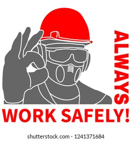 Occupational Safety and Health vector icons and signs set. Protective helmet goggles, footwear, and respirator from radiation, chemical, and bio dangerous.