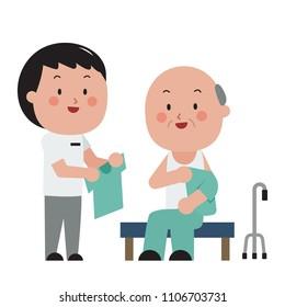 occupational therapist with hemiplegia patient put on cloth flat cartoon character design
