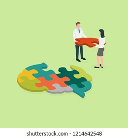 Occupational therapist (or medical professional) assembling a brain jigsaw puzzle. Concept picture for cognitive rehabilitation in Alzheimer disease and dementia patient.