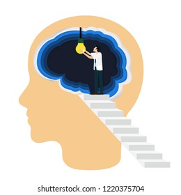 Occupational therapist (or medical professional) open a light bulb inside the brain as a symbol of creative idea. Concept for cognitive rehabilitation in Alzheimer disease and dementia patient.