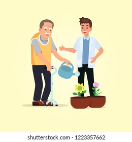 Occupational therapy in rehabilitation session for stroke patient.Therapist training hemiplegia client watering the flowers. Concept for rehabilitation in dementia or Alzheimer disease.