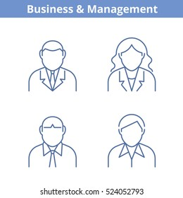 Occupations avatar set: businessman, businesswoman, consultant, manager. Flat line professions userpic collection. Vector thin outline icons for profiles, web design, social networks and infographics.