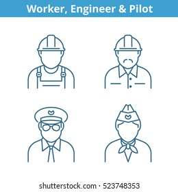 Occupations avatar set: pilot, stewardess, engineer, worker. Flat line professions userpic collection. Vector thin outline icons for profiles, web design, social networks and infographics.
