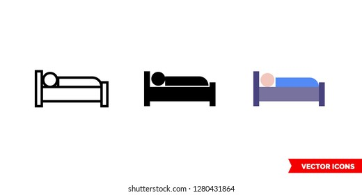 Occupied bed icon of 3 types: color, black and white, outline. Isolated vector sign symbol.