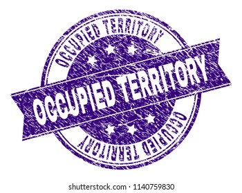 OCCUPIED TERRITORY stamp seal watermark with grunge texture. Designed with ribbon and circles. Violet vector rubber print of OCCUPIED TERRITORY tag with grunge texture.