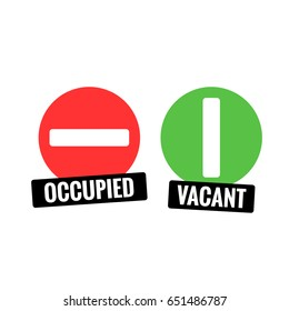 Occupied and Vacant Sign Flat Style Modern Design
