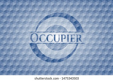 Occupier blue emblem with geometric pattern. Vector Illustration. Detailed.