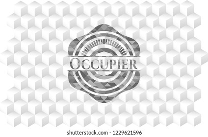 Occupier grey badge with geometric cube white background