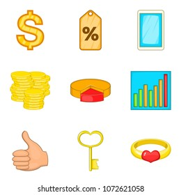Occupy money icons set. Cartoon set of 9 occupy money vector icons for web isolated on white background