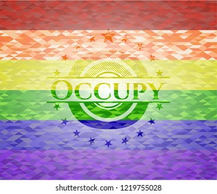 Occupy on mosaic background with the colors of the LGBT flag