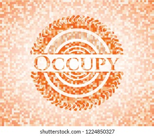 Occupy orange mosaic emblem with background