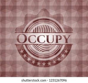 Occupy red seamless badge with geometric pattern.