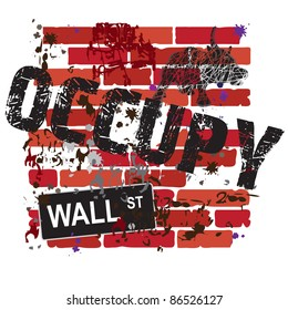 Occupy Wall Street Sign with grungy brick wall