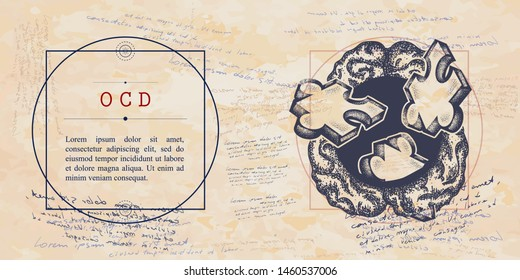OCD. Obsessive compulsive disorder. Brain and puzzles. Psychological vector illustration. Psychotherapy and psychiatry. Medieval medicine manuscript