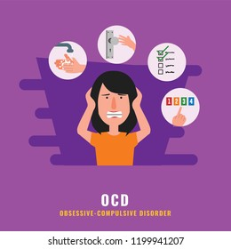 OCD. Obsessive compulsive disorder. Mental health illustration