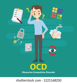 OCD Obsessive Compulsive Disorder Mental Illness Signs and Symptoms Infographic Vector Illustration