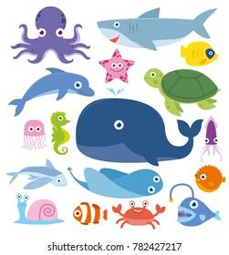 Ocean Animal Fish Whale Crab Octopus Shark