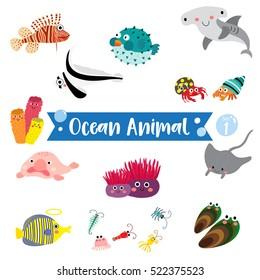Ocean Animals cartoon on white background. Set 1.