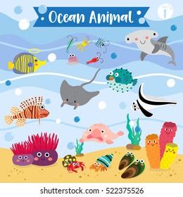 Ocean Animals cartoon with underwater background. Set 1.