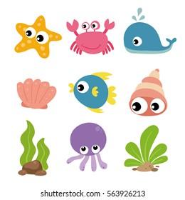 Ocean animals character design