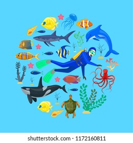 Ocean animals and diver on blue background.Vector illustration