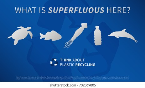Ocean animals and plastic bottle vector illustration. Sea animals and plastic garbage (trash, rubbish) with recycle (recycling) sign graphic design. Ocean plastic pollution problem creative concept.